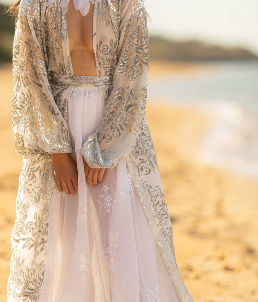 DARCY – Silver Dusted Sequin 100% Silk Robe by Harlow Loves Daisy luxury bohemian designs handmade in Melbourne